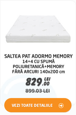 Saltea pat Adormo Memory 14+4 cu spuma poliuretanica+memory fara arcuri 140x200 cm la 829 lei