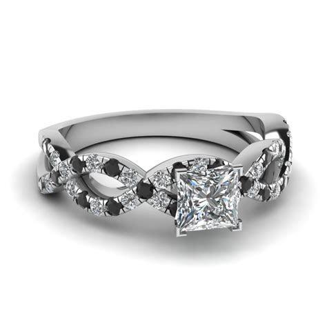 Princess Cut Infinity Engagement Ring With Black Diamond
