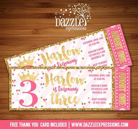 Printable Pink and Gold Glitter Princess Birthday Ticket
