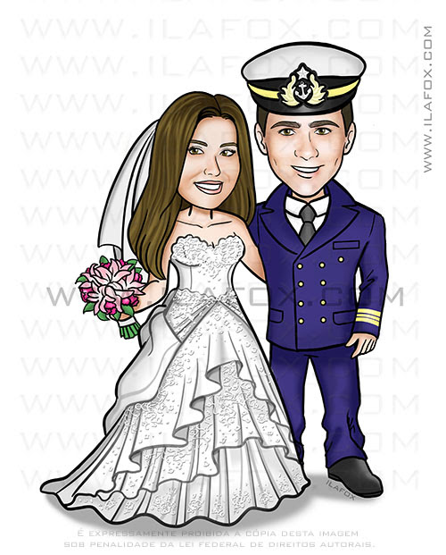 caricatura clássica, caricatura noivos, caricatura casal, caricatura com farda, caricatura militar, by ila fox