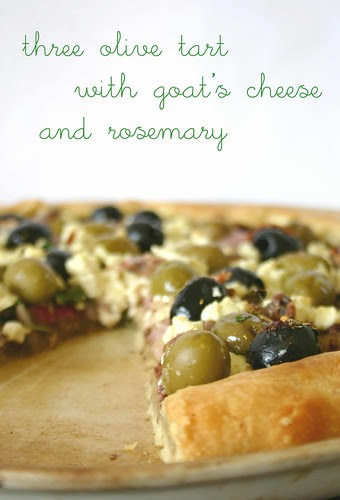 three olive tart with goat's cheese rosemary