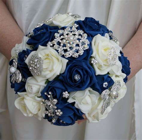 bridal posy bouquet navy blue  ivory roses