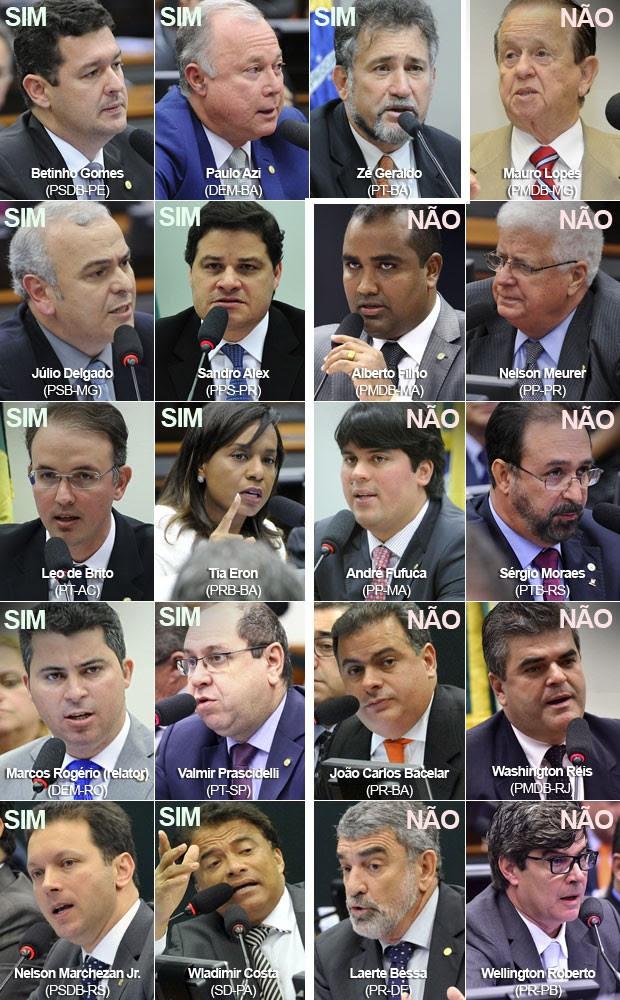 Votos do Conselho de Ética da Câmara que aprovaram o parecer de cassação de Eduardo Cunha (PMDB-RJ) (Foto: Alex Ferreira; Cleia Viana; Lucio Bernardo Junior; Luis Macedo; Antonio Augusto; Zeca Ribeiro/Câmara dos Deputados)
