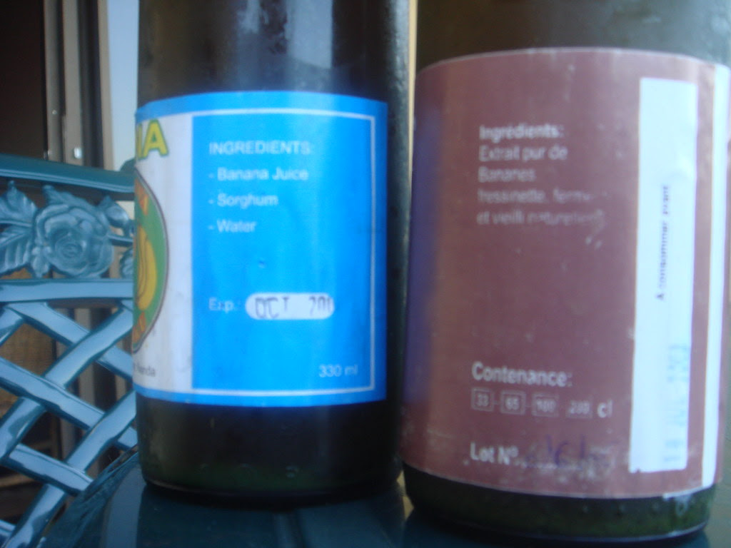 two bottles of banana beer with ingredient labels showing