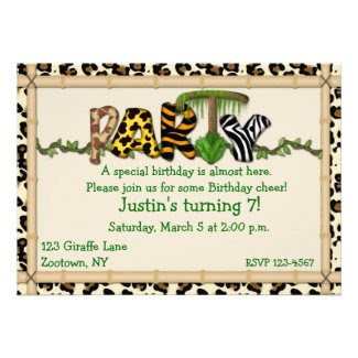 Jungle Print Birthday Party Invite