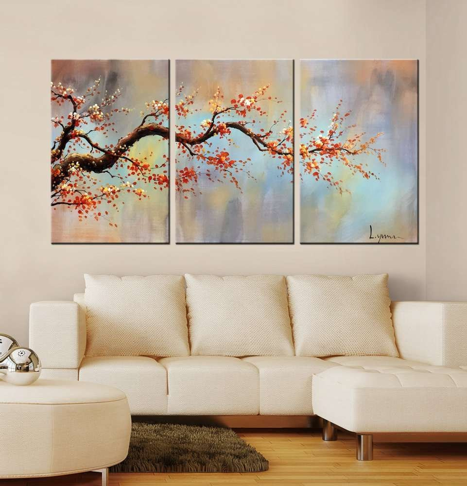 Decorating Large Wall With 3 Piece Canvas Wall Art