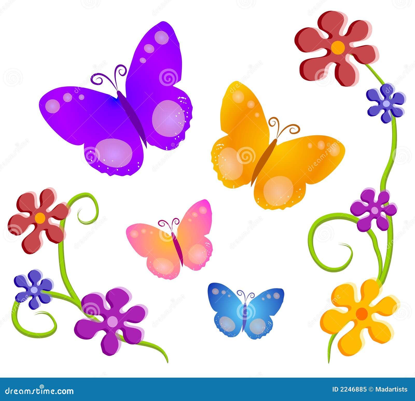 butterflies flowers clip art 1 2246885