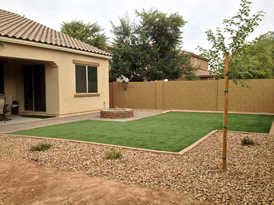Plastic Grass Gilbert Arizona Paver Patio Backyard Garden Ideas