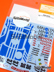 Shunko Models: Calcas escala 1/24 - Toyota Supra Turbo Group A Minolta Nº 36, 37 - Geoff Lees (GB) + Keiichi Suzuki (JP), Masanori Sekiya (JP) + Hitoshi Ogawa (JP) 1988 - para kit de Tamiya TAM24076