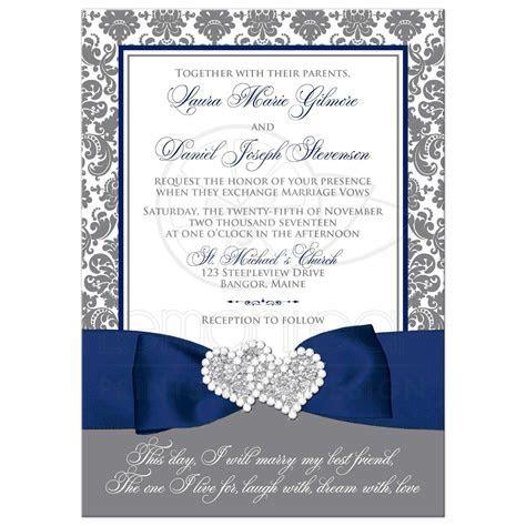 Navy Blue, White, and Gray Damask Wedding Invitation