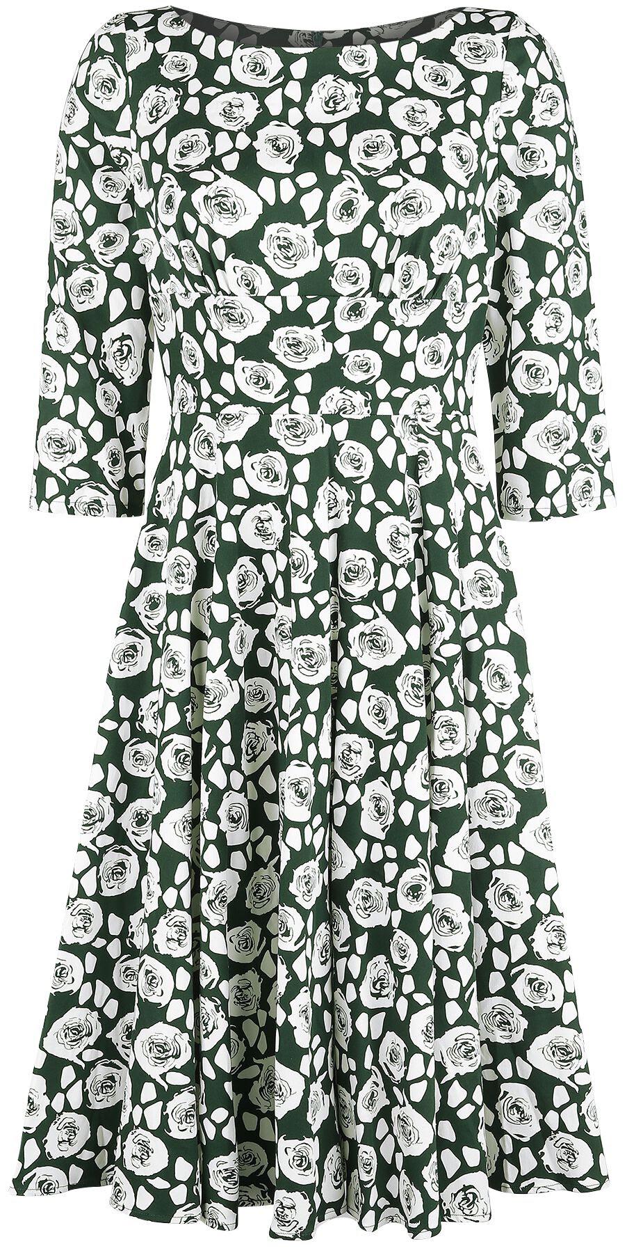 h&r london - white roses dress - kleid knielang - dunkelgrün|weiß