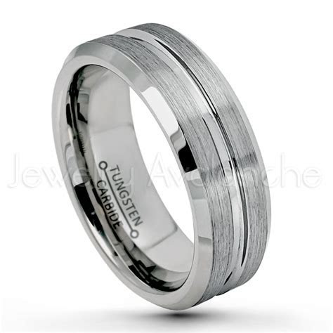 7mm Grooved Tungsten Wedding Band ? Brushed Finish Comfort