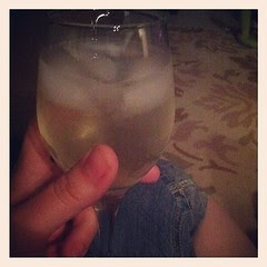 Wine o'clock. Yes, those are ice cubes. Not pictured : an entire bag of lays potato chips. #shamelessfatty