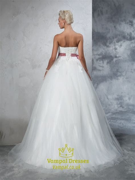 Strapless Lace Bodice A Line Ball Gown Wedding Dress With