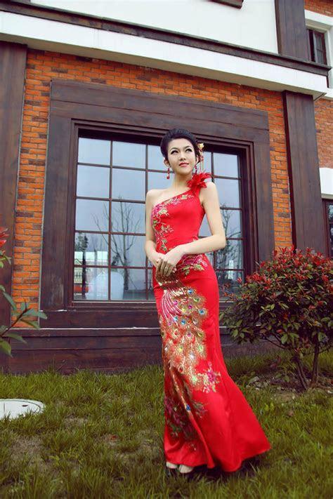 Prom Mermaid Cheongsam Long Peacock Bridal Gown Dress