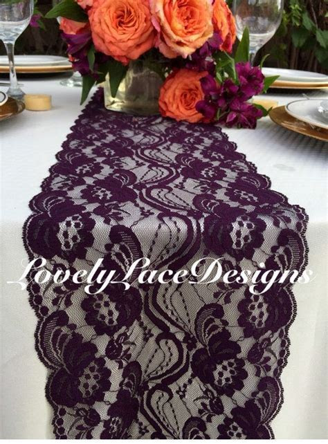 """PLUM WEDDINGS/Plum Lace Table Runner/3ft 10ft x 7"""" Wide"""