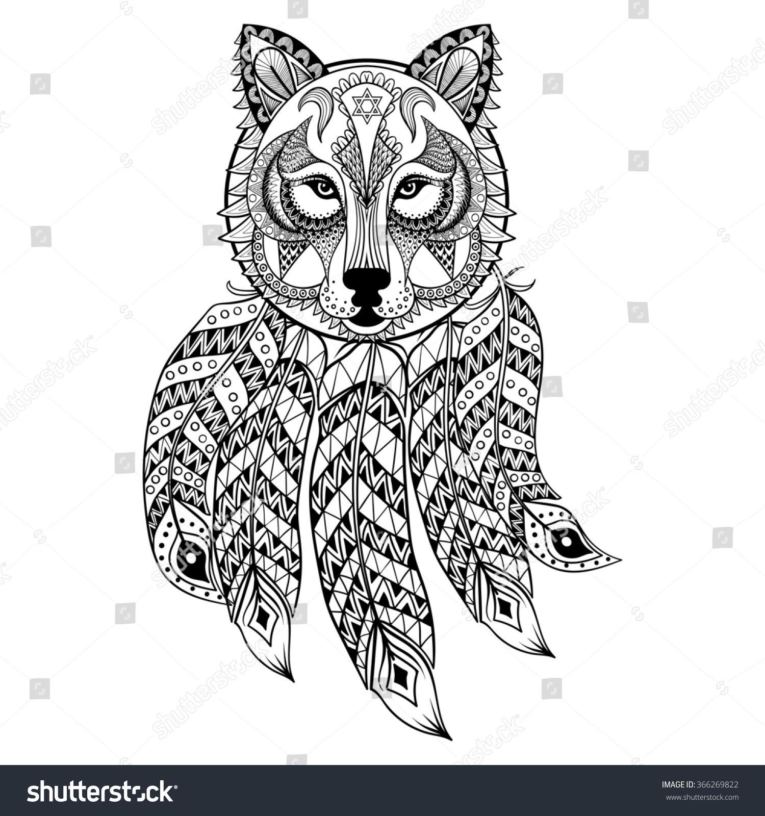 Ornamental Wolf Dreamcatcher Ethnic Zentangled Mascot ...