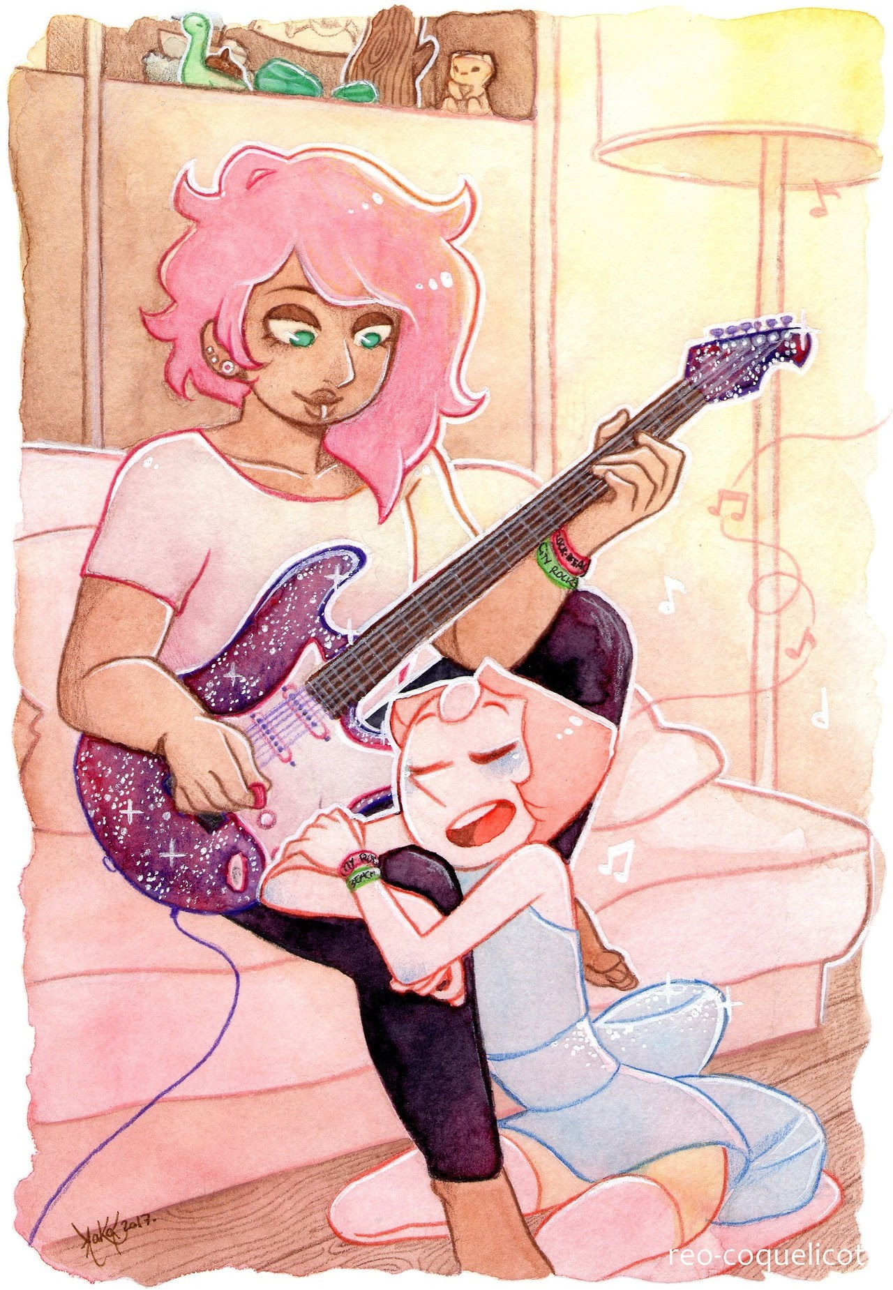 An early morning song ~   Aaaaand I'm adding guitars to the list of things I should never draw again ! For day 3 of the MysteryPearl week : Creating !