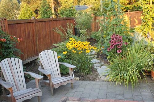 backyard chairs and flowers
