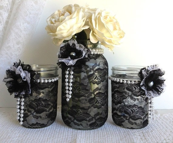 black lace mason jars black and white lace covered by PinKyJubb