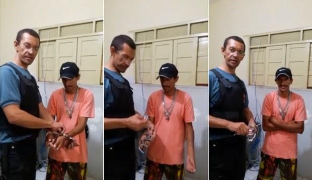 Imagens mostram o momento em que o policial retira as algemas do preso (Foto: Divulgação/Arquivo Pessoal )