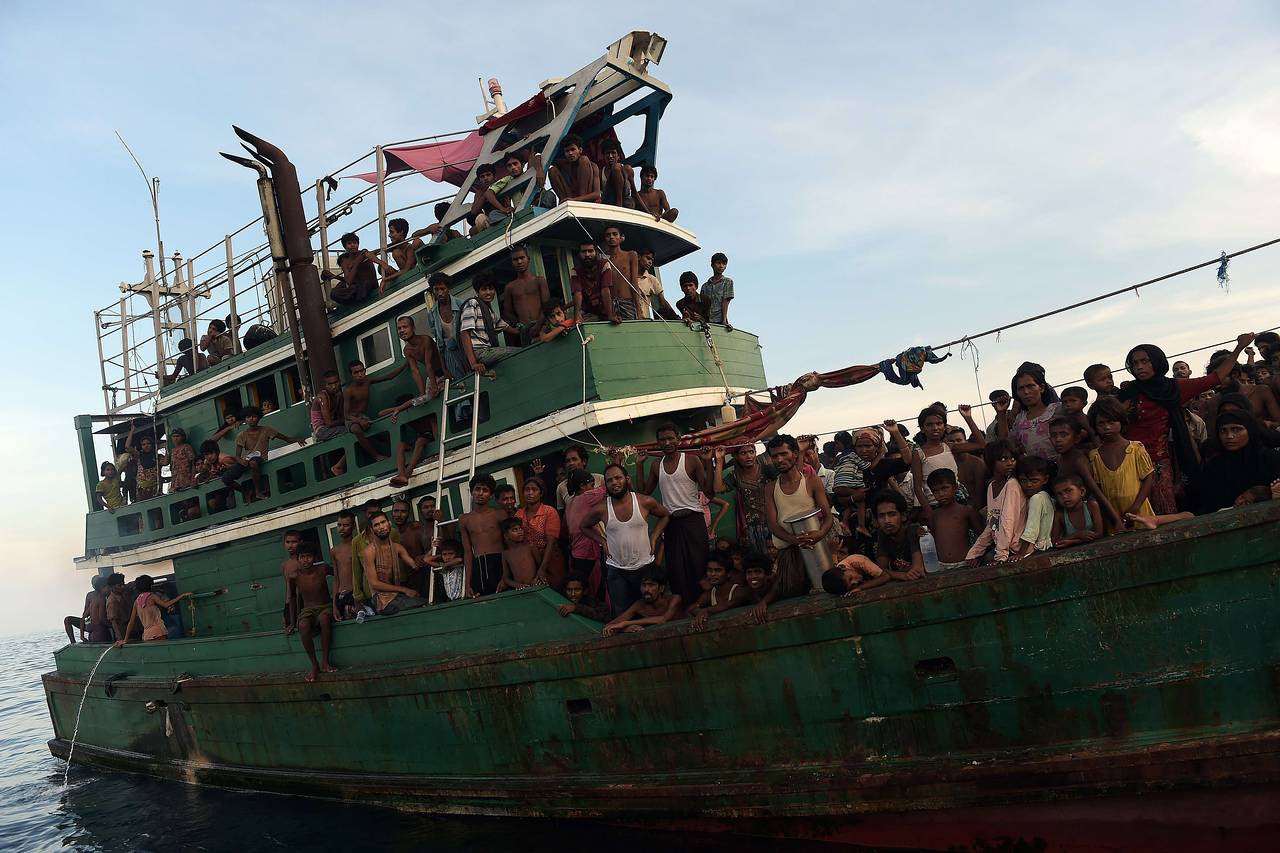 Rohingya migrants on a boat drifting in Thai waters off the southern island of Koh Lipe in the Andaman Sea on Thursday.