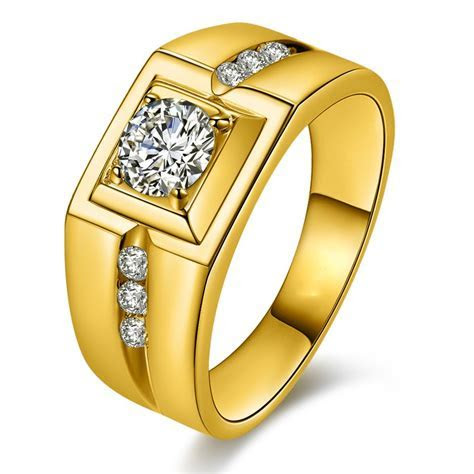 Domineering Plated 24K Gold Diamond Ring   Mens Rings