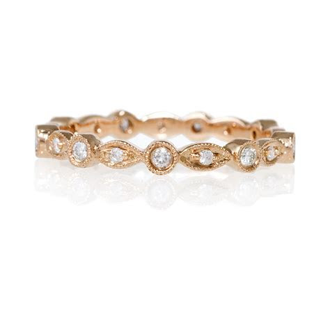 18k Rose Gold Diamond Antique Eternity Wedding Band   eBay