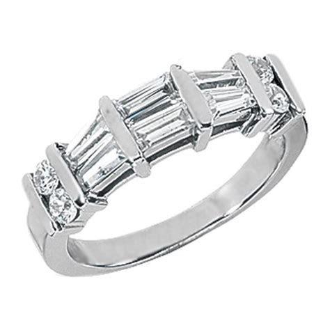 Round & Baguette Cut Diamond Wedding Band G H VS 0.43 tcw