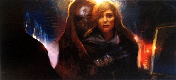 Concept artwork featuring Daisy Ridley's character (supposedly named Kira) and the Grave Robber in STAR WARS: EPISODE VII.