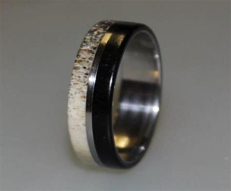 Stainless Steel Ring, Deer Antler Inlay, Ebony Wood Ring