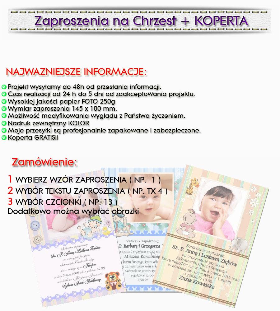 Zaproszenie Chrzest Allegro
