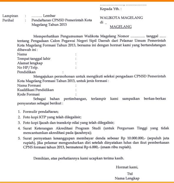 Ini Contoh Surat Lamaran Cpns Kota Magelang Selongjobs Com