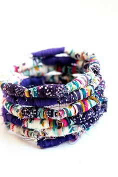 Fabric bead bracelets — a fun way to use up your remnants, with a stylish outcome!