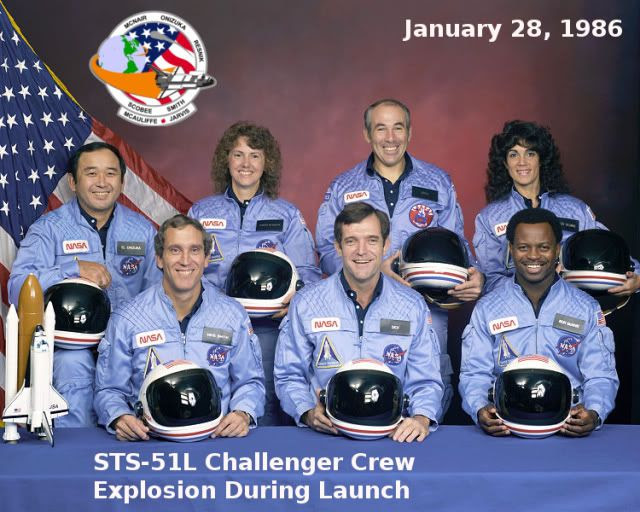 The crew of the Challenger Back row L to R  Ellison Onizuka, Christa McAuliffe, Gregory Jarvis, Judith Resnik  Front row L to R Michael J Smith, Francis Dick Scobee, Ronald McNair