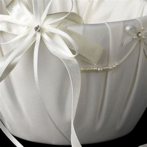 Lace Ribbon & Sheer Organza Flower girl Basket w