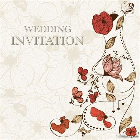 Hand drawn cartoon wedding invitation card vector material