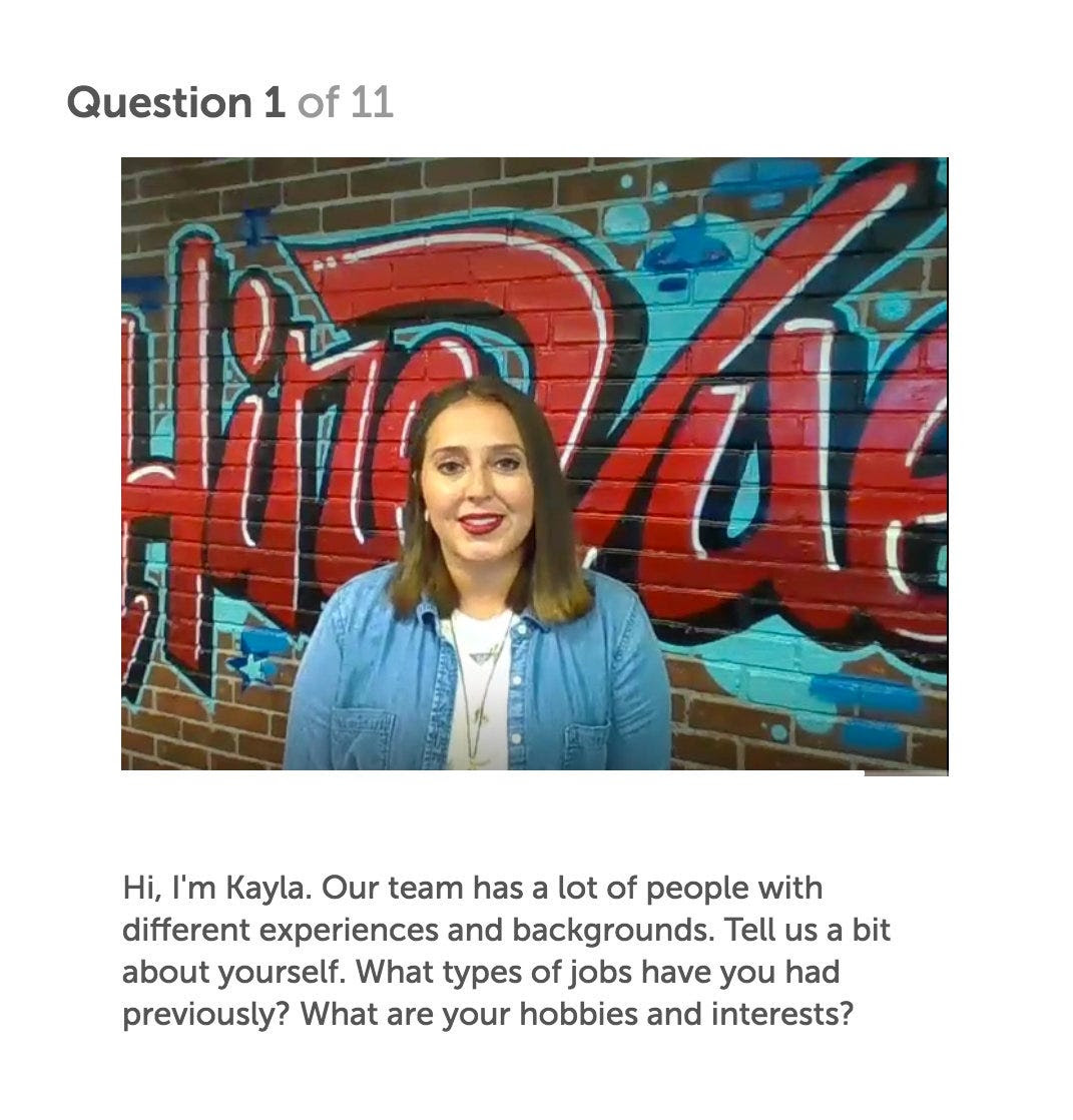 In recorded videos, HireVue employees asked questions like, 'How would you describe your role in the last team you worked in?'