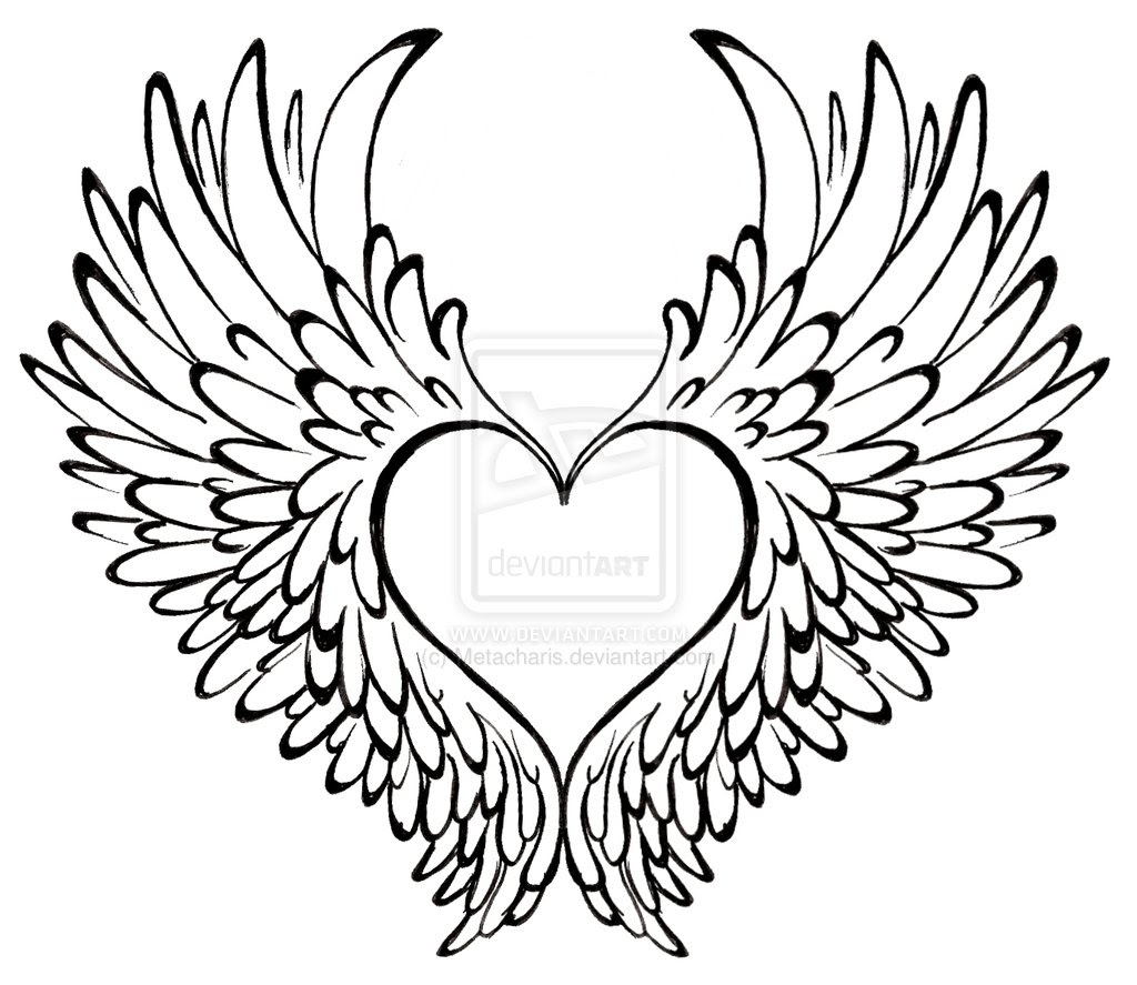 Angel Wings Drawing Outline At Getdrawingscom Free For Personal