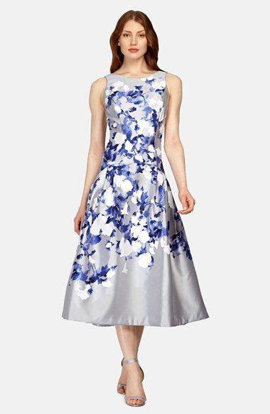 Kay Unger Floral Print Midi Fit & Flare Dress   Flare, Tea