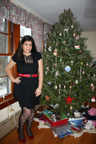 Black Lace dress, Black shrug, Red Mary Janes, lace tights