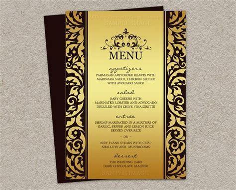 Elegant Wedding Menu Cards, Printable Elegant Wedding Menu