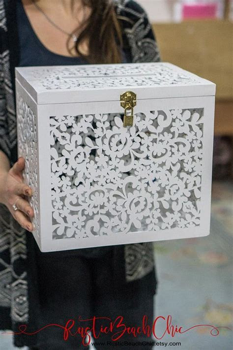 Wedding Card Box with Slot, Card Box with Lock, White