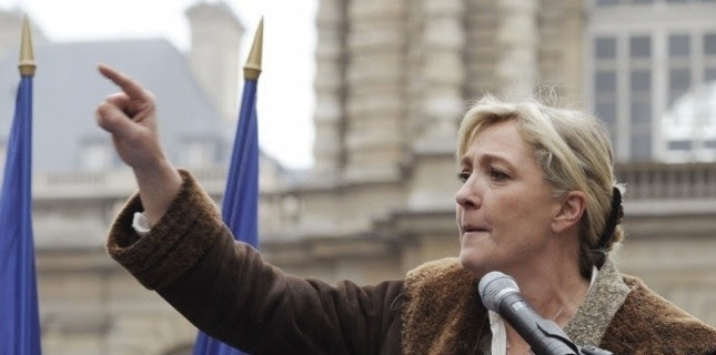 Marine Le Pen, le 31 janvier, devant le Sénat. (BERTRAND GUAY / AFP)