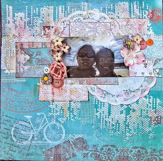 Mixed Media Scrapbook Page with Thandar Aye Featuring Baggage Claim by Quick Quotes