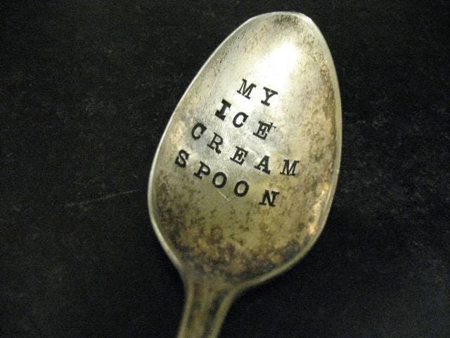 Vintage Silverware Ice Cream Spoon by WoodenHive on Etsy