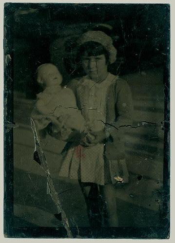 Tintype girl and doll