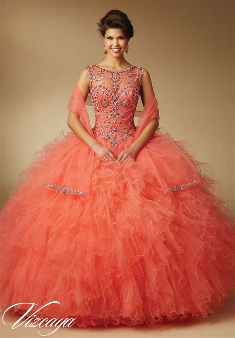 Ruffled Tulle Quinceanera Dress   Style 89041   Morilee