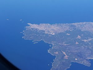 Aerial photograph of the Skyros airport taken ...