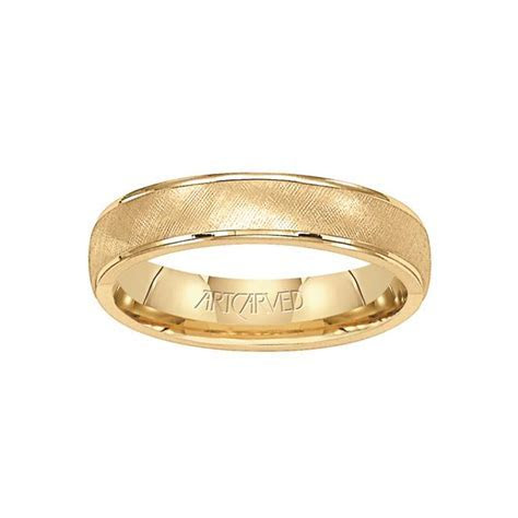 ArtCarved 14K Yellow Gold Textured 5mm Wedding Band, Size